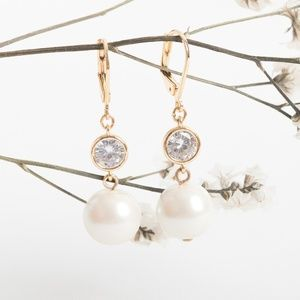 Alicia Bonnie Pearl Crystal Drop Earrings